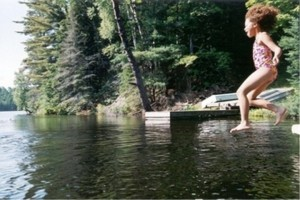 Jumping off the dock.